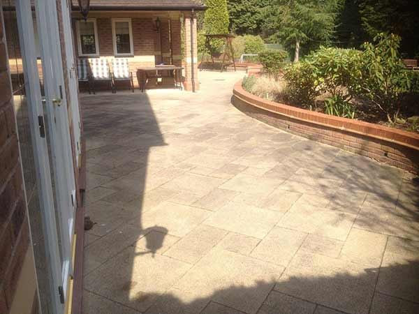 Large Patio in Sutton Coldfield before cleaning