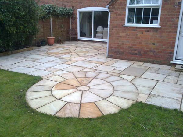 Natural stone patio after cleaning
